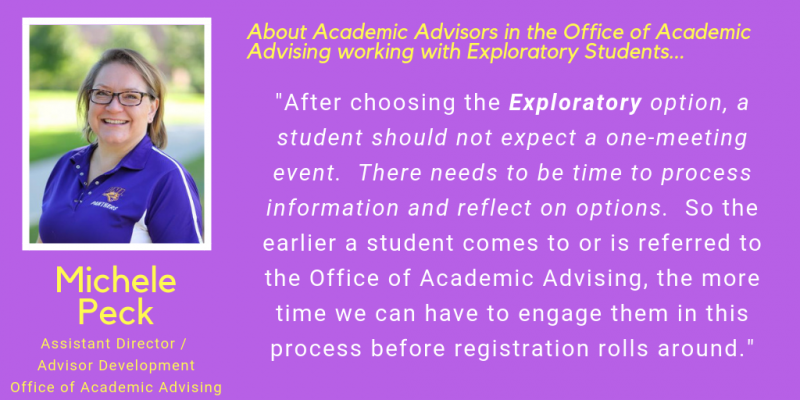 Michele Peck Quote on Advising for Exploratory Majors